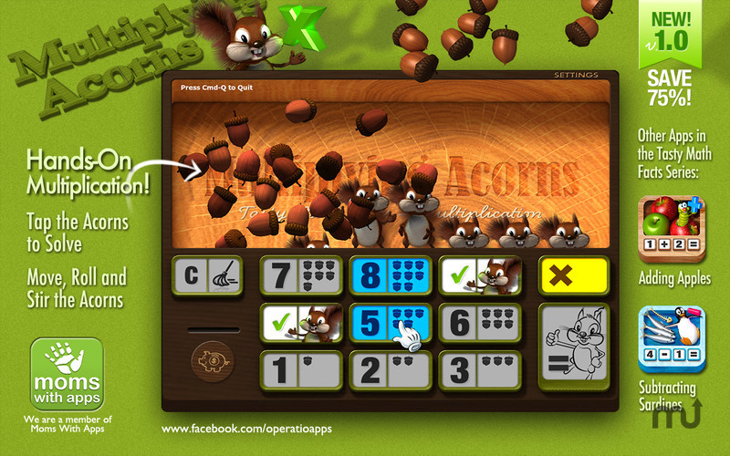 Screenshot 1 for Multiplying Acorns - Tasty Math Facts