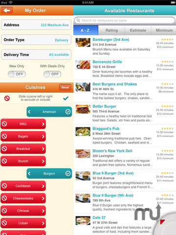 Screenshot 3 for Seamless Food Delivery and Takeout for iPad