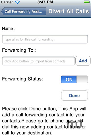 Screenshot 2 for Call Forwarding Assistant