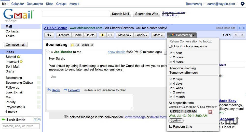 Screenshot 1 for Boomerang for Gmail