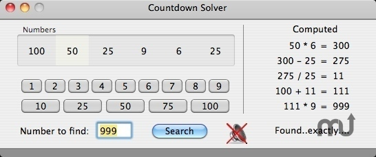 Screenshot 1 for Countdown Solver