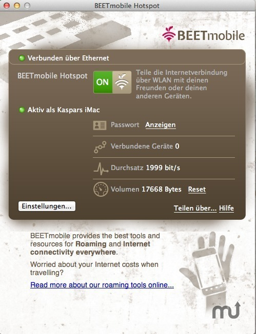 Screenshot 1 for Beetmobile Hotspot App