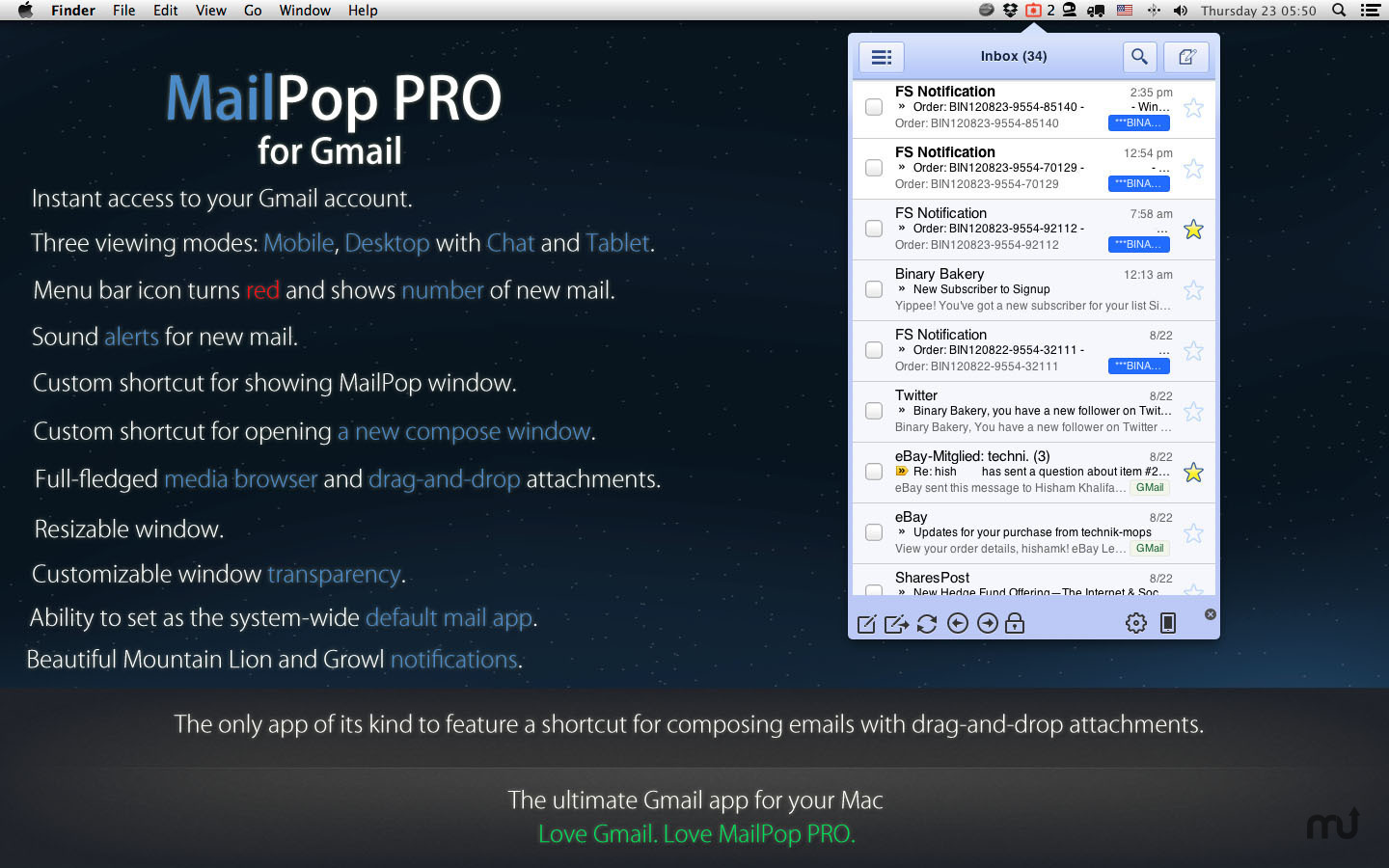 Screenshot 1 for MailPop PRO