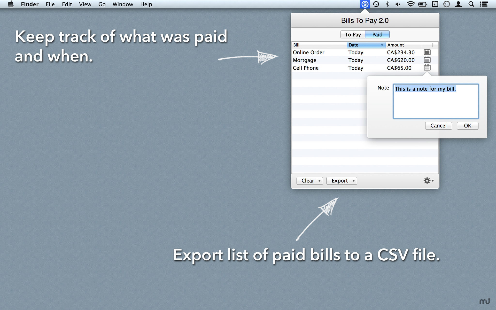 Screenshot 3 for Bills To Pay