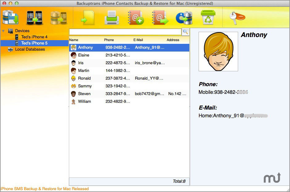 Screenshot 1 for Backuptrans iPhone Contacts Backup & Restore