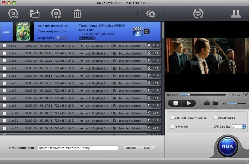 Screenshot 1 for MacX DVD Ripper Free Edition