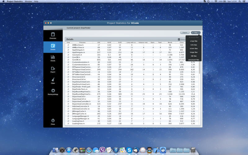 Screenshot 3 for Project Statistics for Xcode