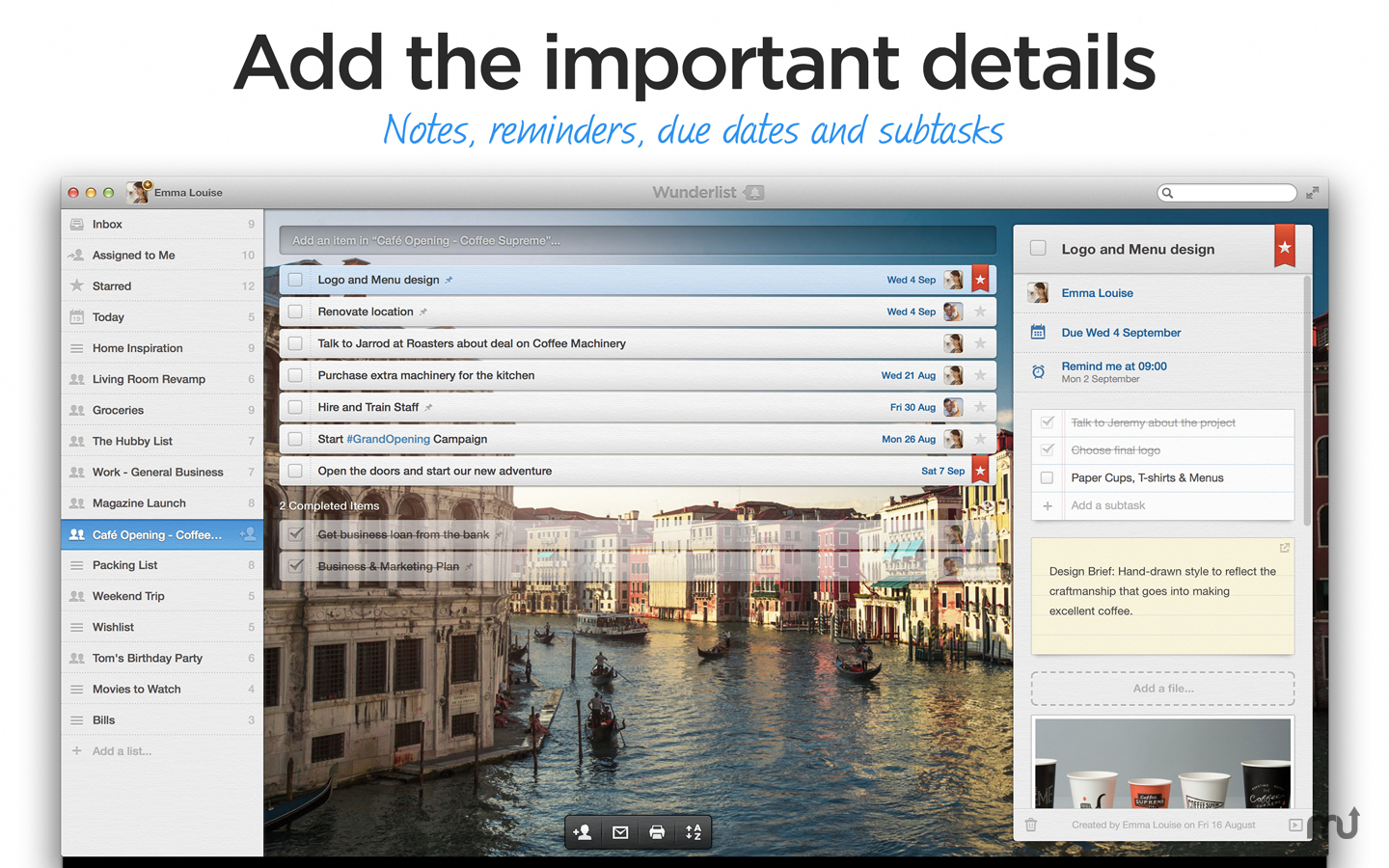 Screenshot 2 for Wunderlist Pro (5-Person License)