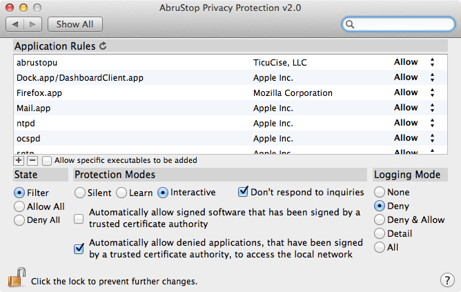 Screenshot 1 for AbruStop Privacy Protection