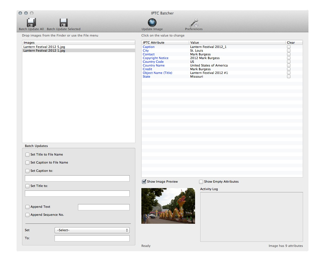 Screenshot 1 for IPTC Batcher