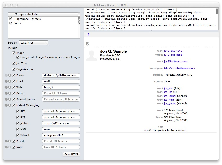 Screenshot 1 for Address Book to HTML