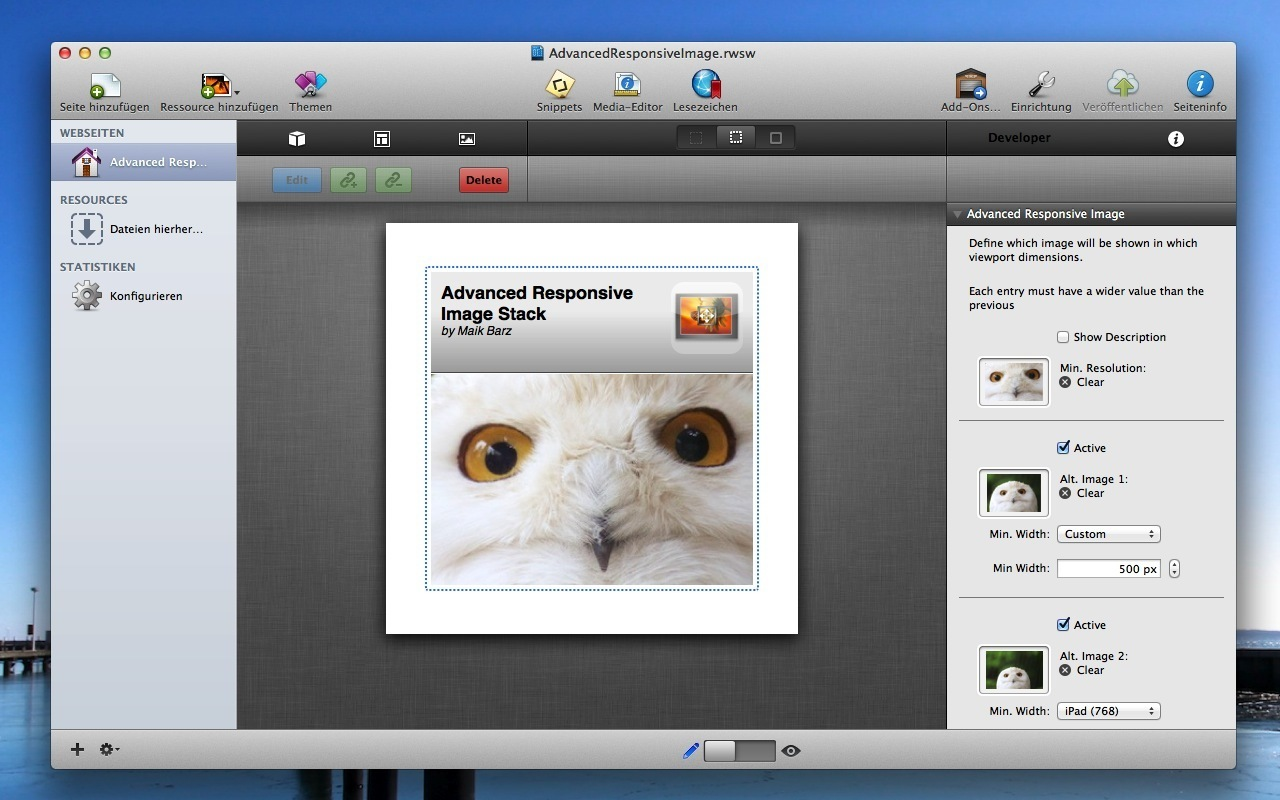 Screenshot 1 for Advanced Responsive Image