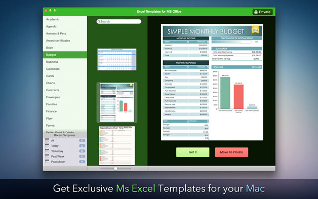 Screenshot 1 for Templates for Microsoft Excel