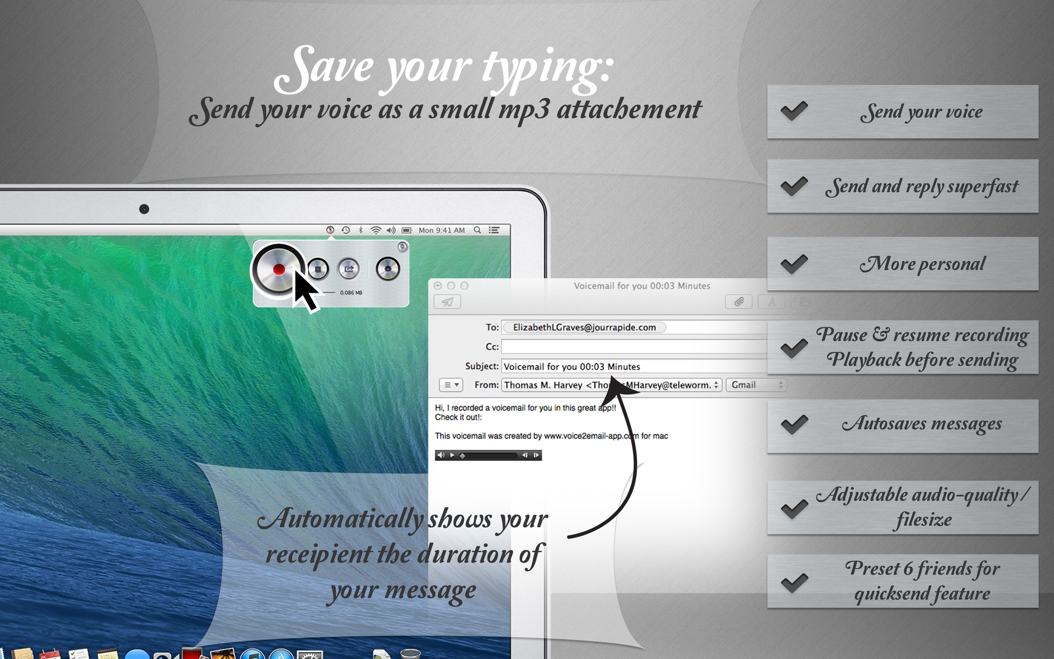 Screenshot 1 for Voice2Email