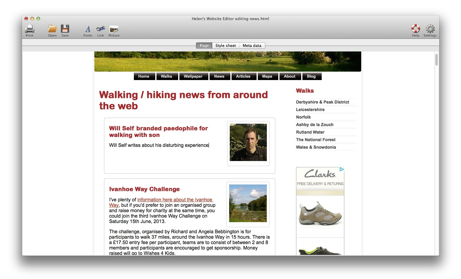Screenshot 1 for Helen's Website Editor
