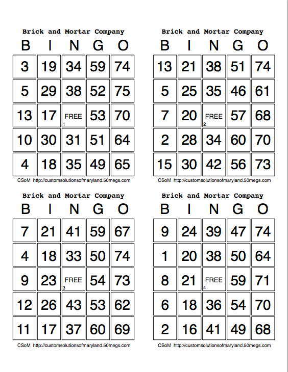 My Bingo Cards on Number Bingo 1 10 Printable