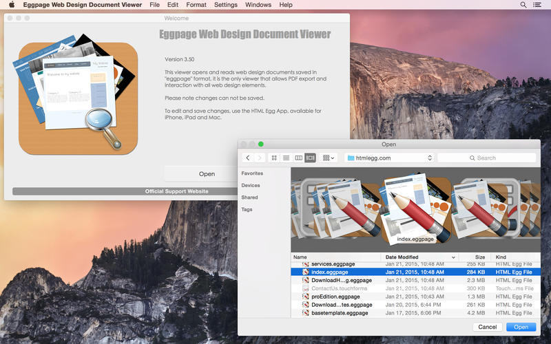 Screenshot 1 for Eggpage Web Design Document Viewer
