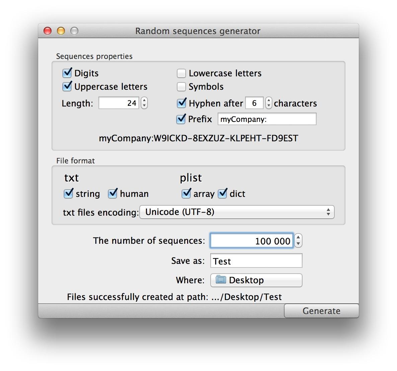Random Sequences Generator MacUpdate