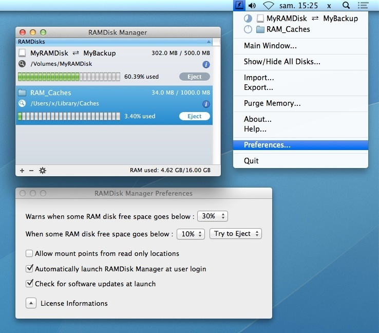 Screenshot 1 for RAMDisk Manager