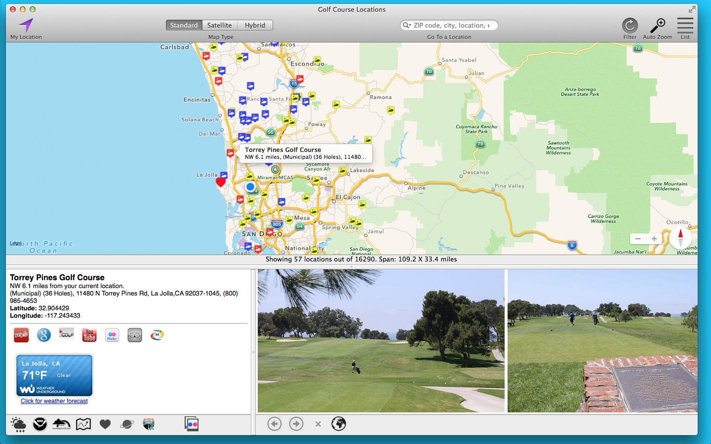 Screenshot 1 for Golf Course Locations