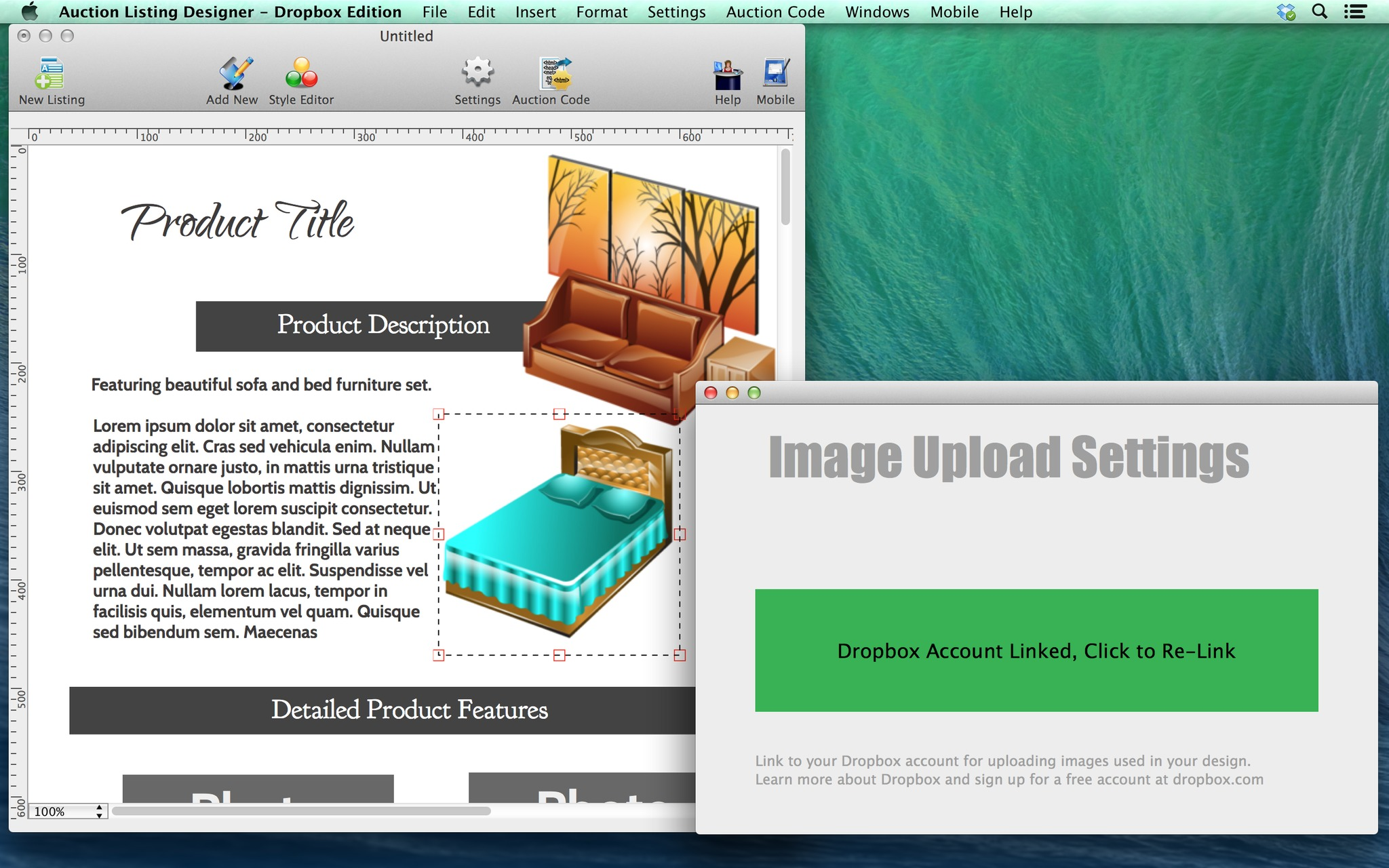 Screenshot 1 for Auction Listing Designer - Dropbox Edition