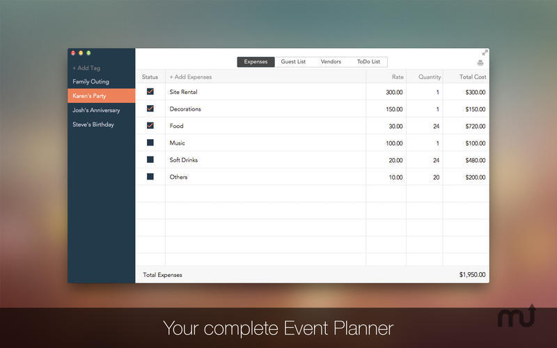Screenshot 1 for Event Planner