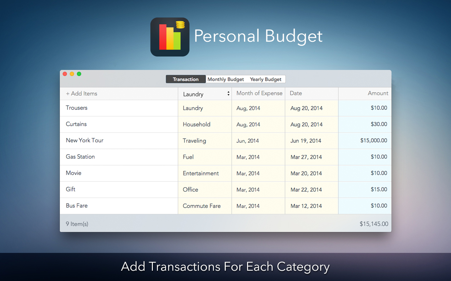 Screenshot 1 for Personal Budget