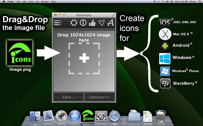 Screenshot 1 for QuickIconsDemo