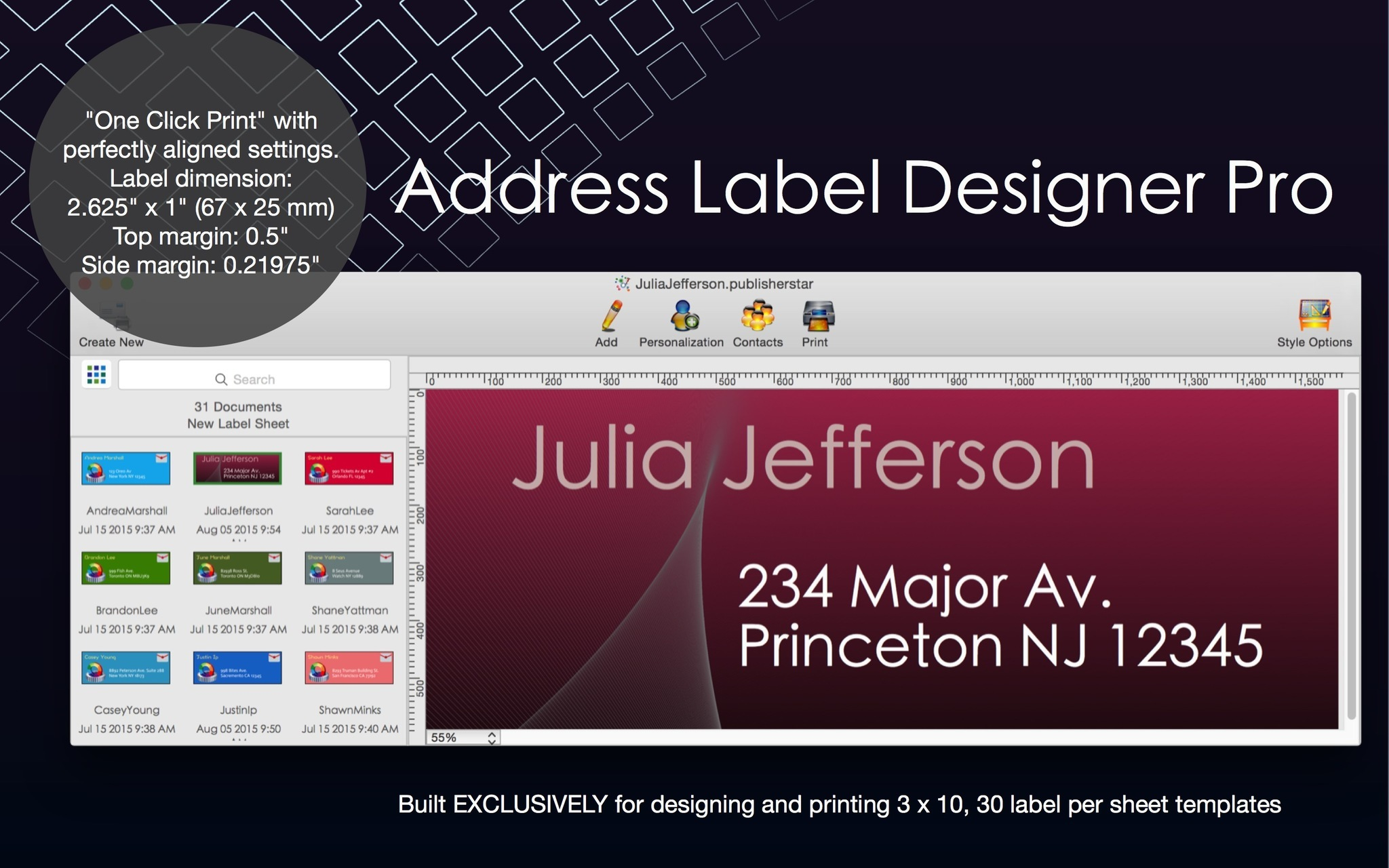 Screenshot 1 for Address Label Designer Pro