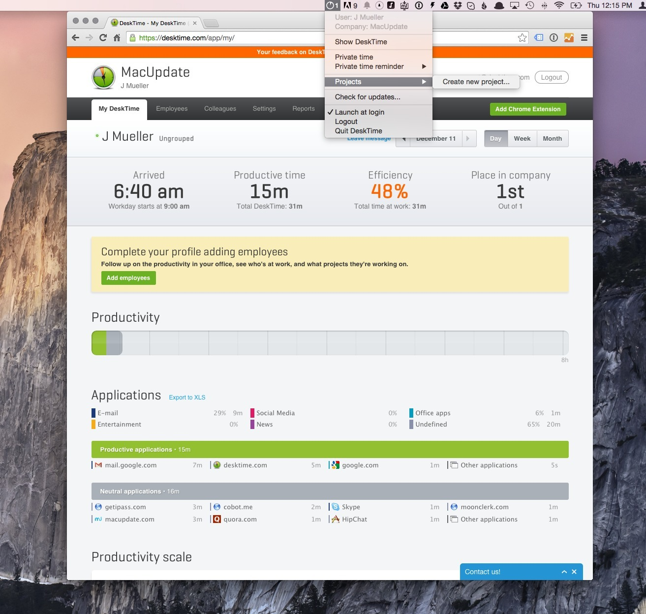 Screenshot 1 for Desktime