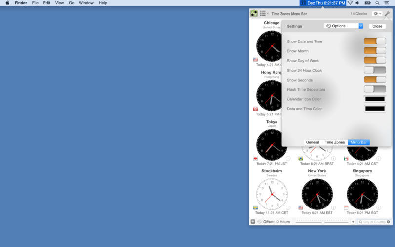 Screenshot 1 for Time Zones Menu Bar