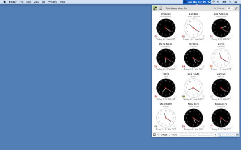 Screenshot 2 for Time Zones Menu Bar