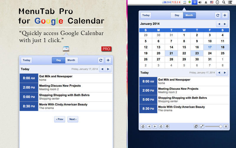 Screenshot 1 for MenuTab Pro for Google Calendar