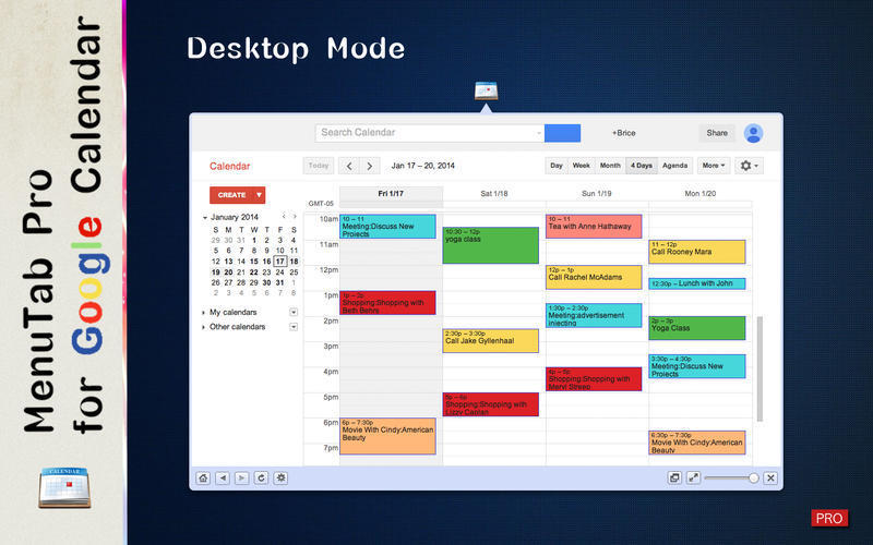 Screenshot 2 for MenuTab Pro for Google Calendar