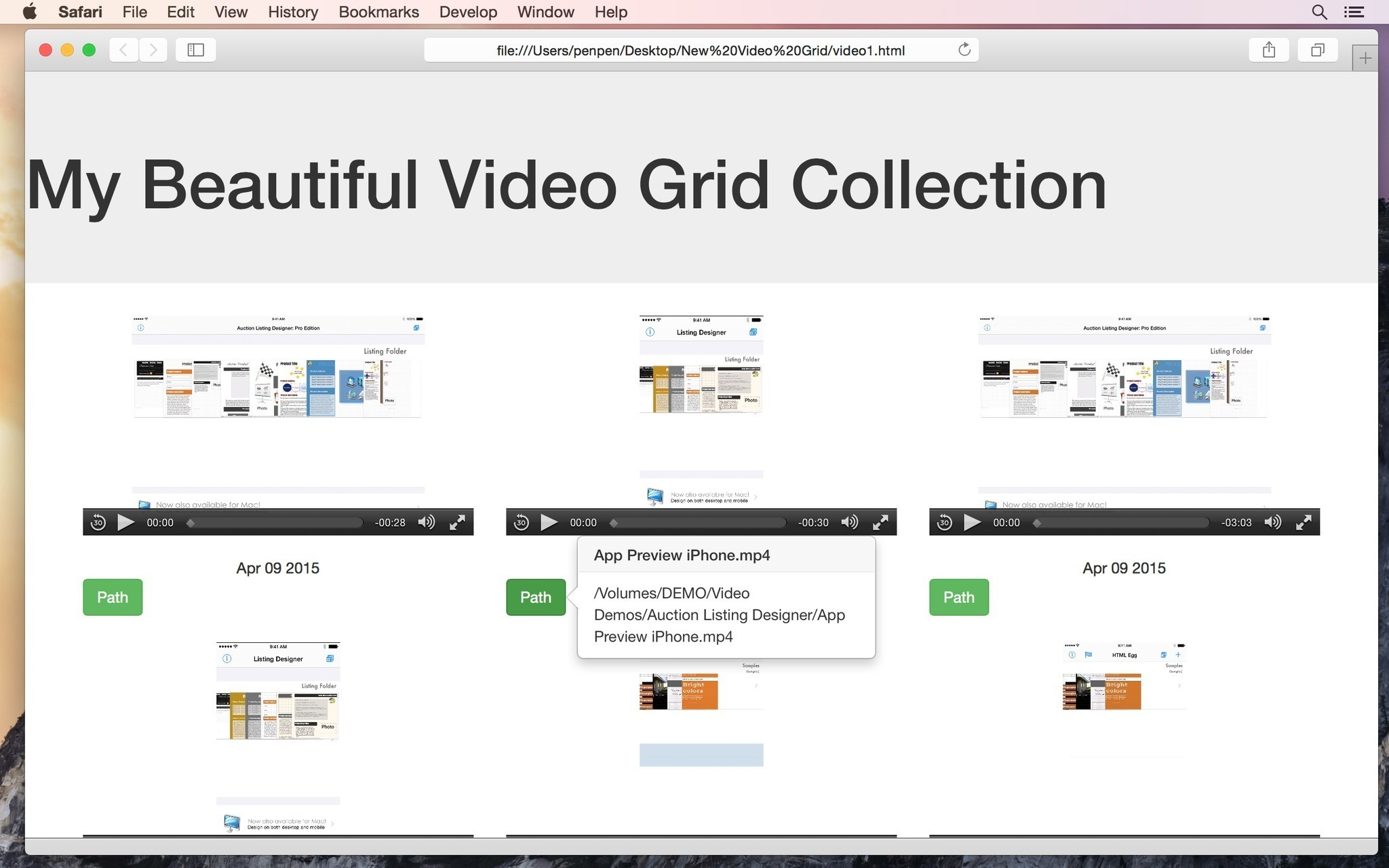 Screenshot 1 for Responsive Video Grid