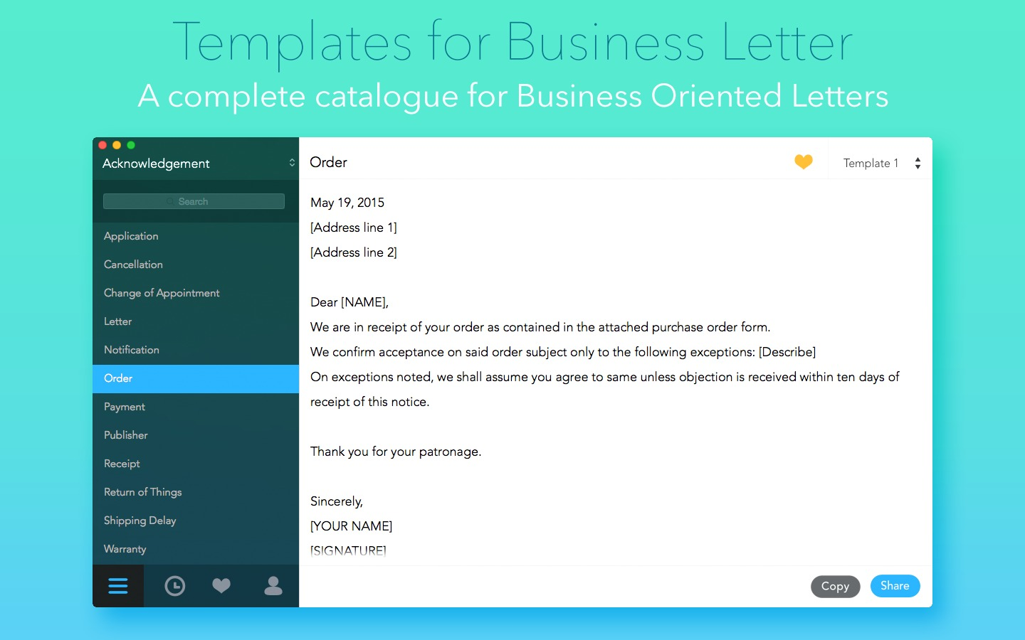 Templates for Business Letter 10 purchase for