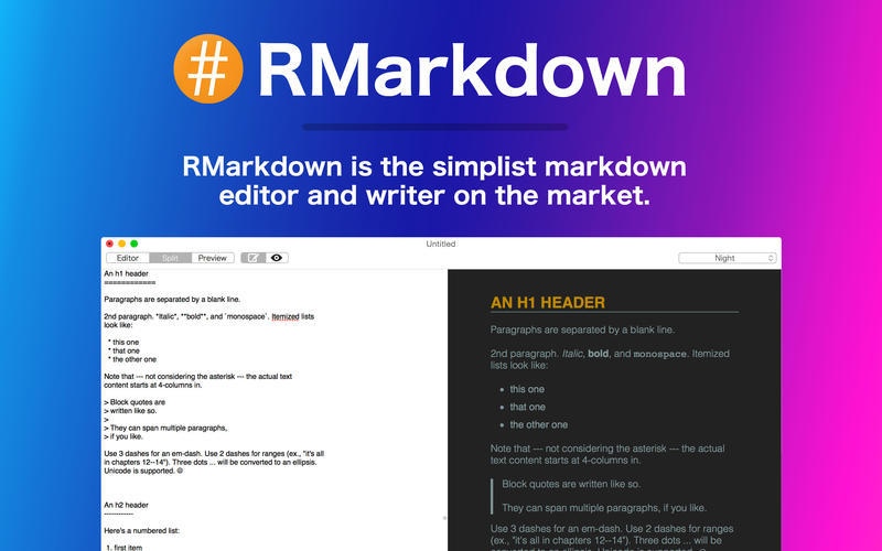 Screenshot 1 for RMarkdown