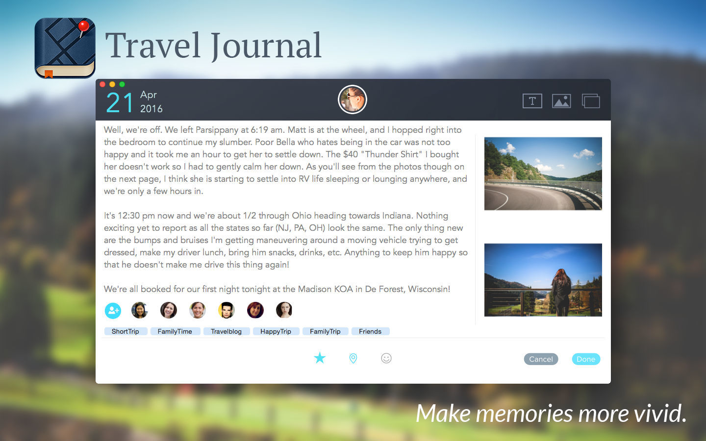 Screenshot 1 for Travel Journal