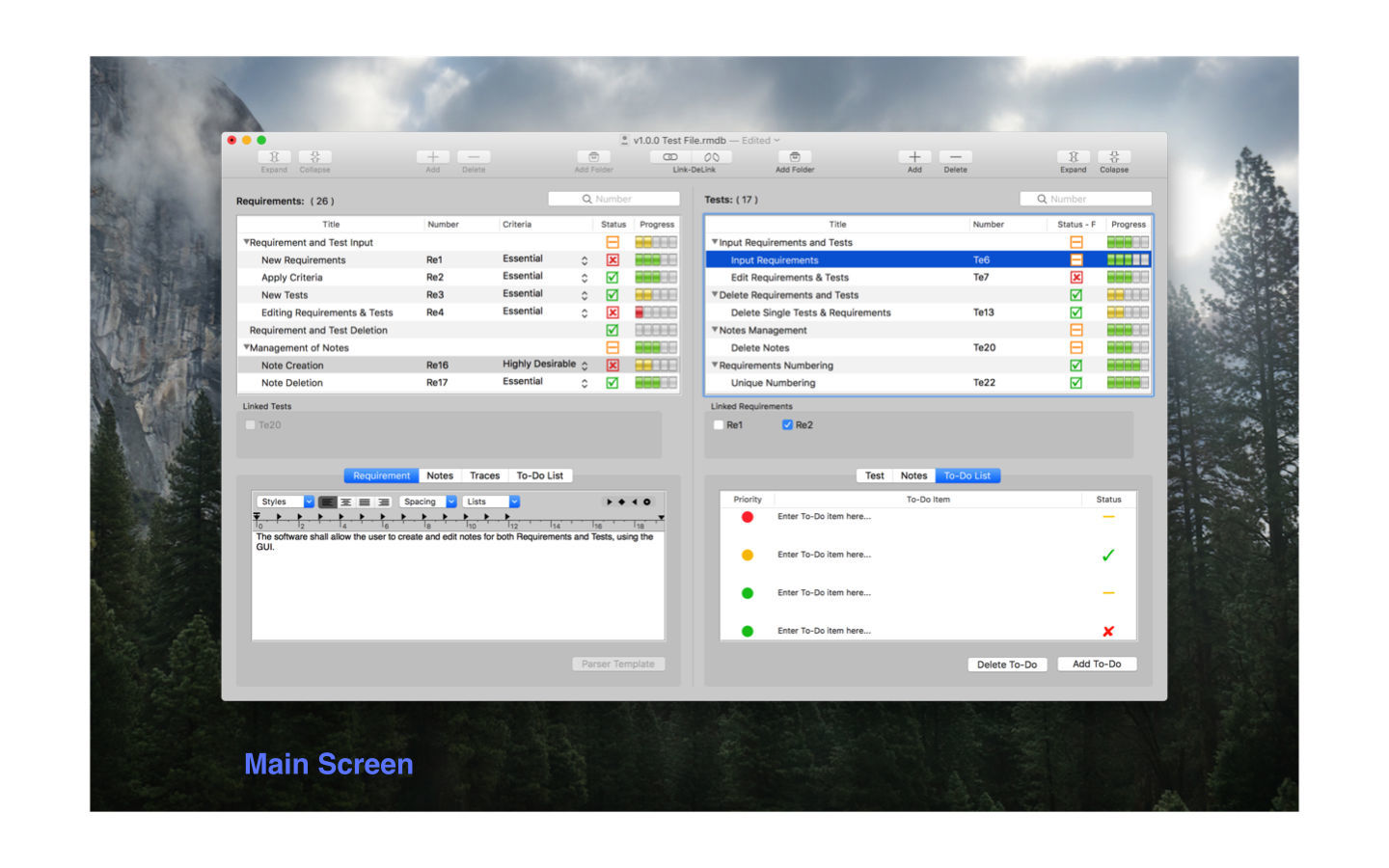 Screenshot 1 for Requirements Manager