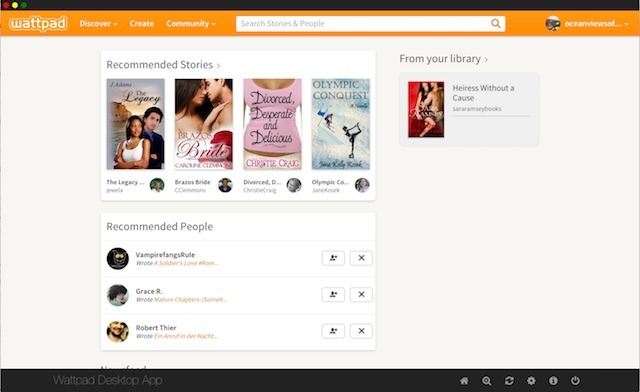 Screenshot 1 for Wattpad Desktop