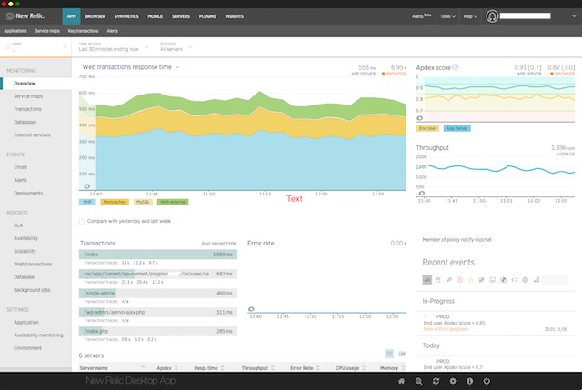 Screenshot 1 for New Relic Desktop