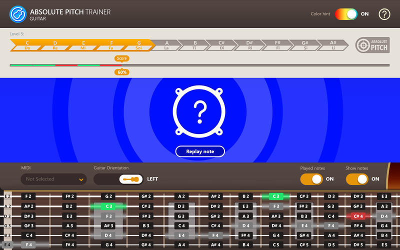 Screenshot 1 for Absolute Pitch Trainer for Guitar