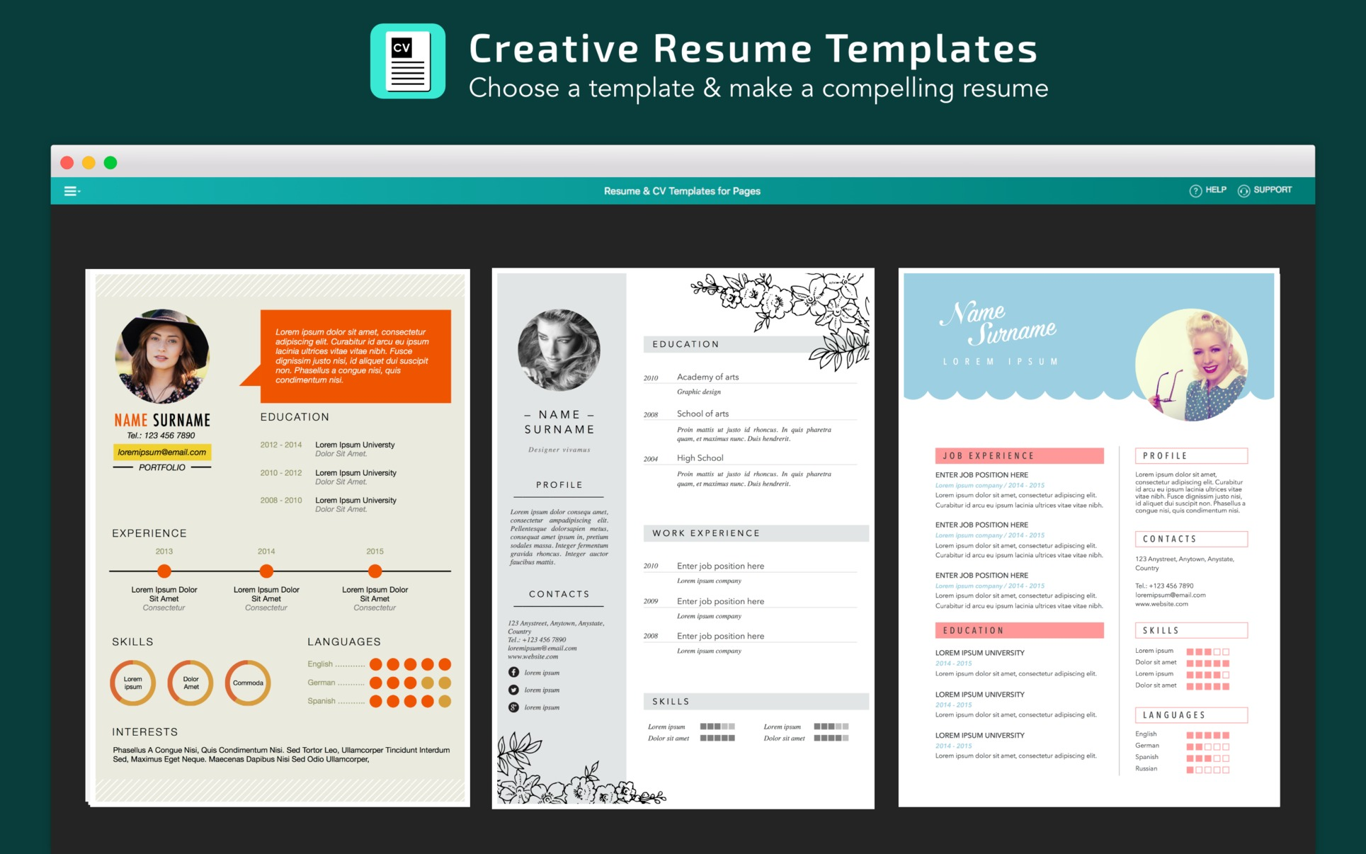 Screenshot 3 for Resume, CV Templates for Pages