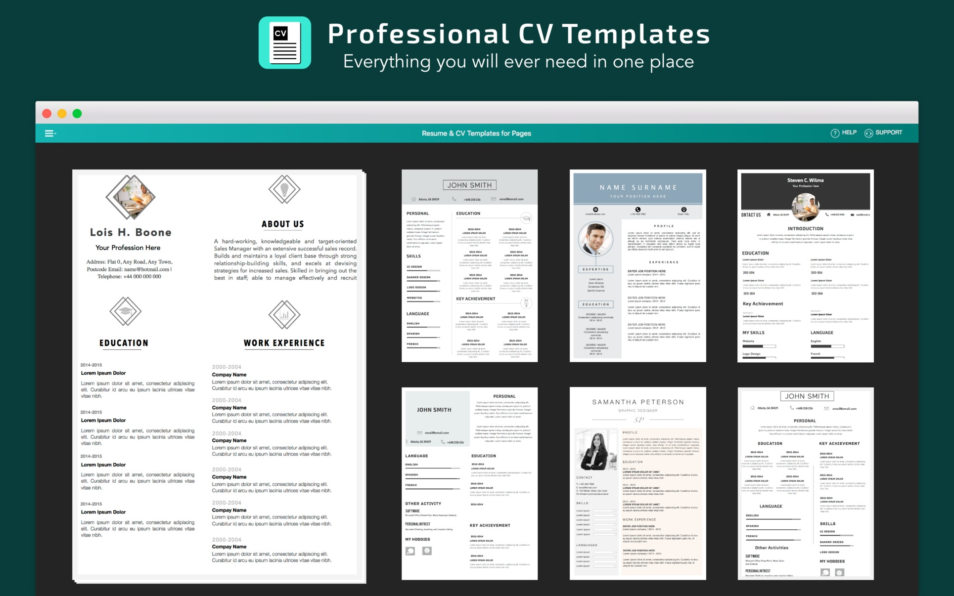 resume  cv templates for pages 4 0 purchase for mac