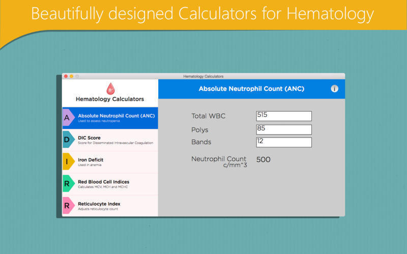 Screenshot 1 for Hematology Calculators