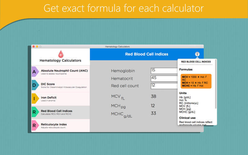 Screenshot 2 for Hematology Calculators