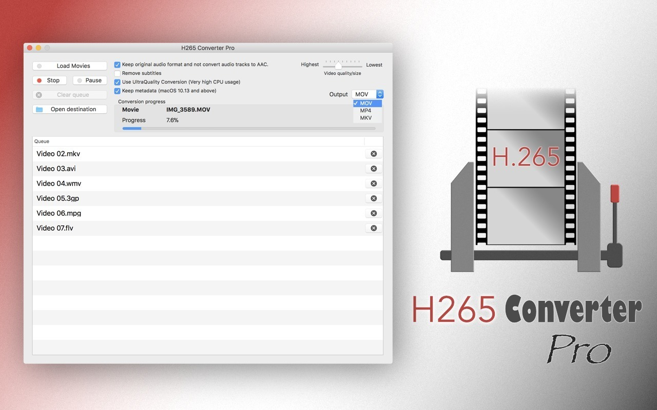 Screenshot 1 for H265 Converter Pro