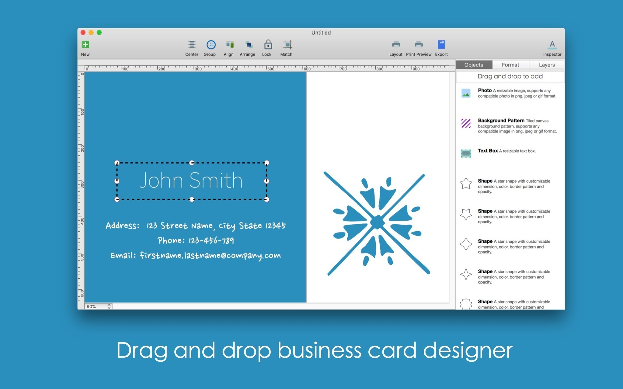 Screenshot 2 for Blue Penguin Business Card Designer