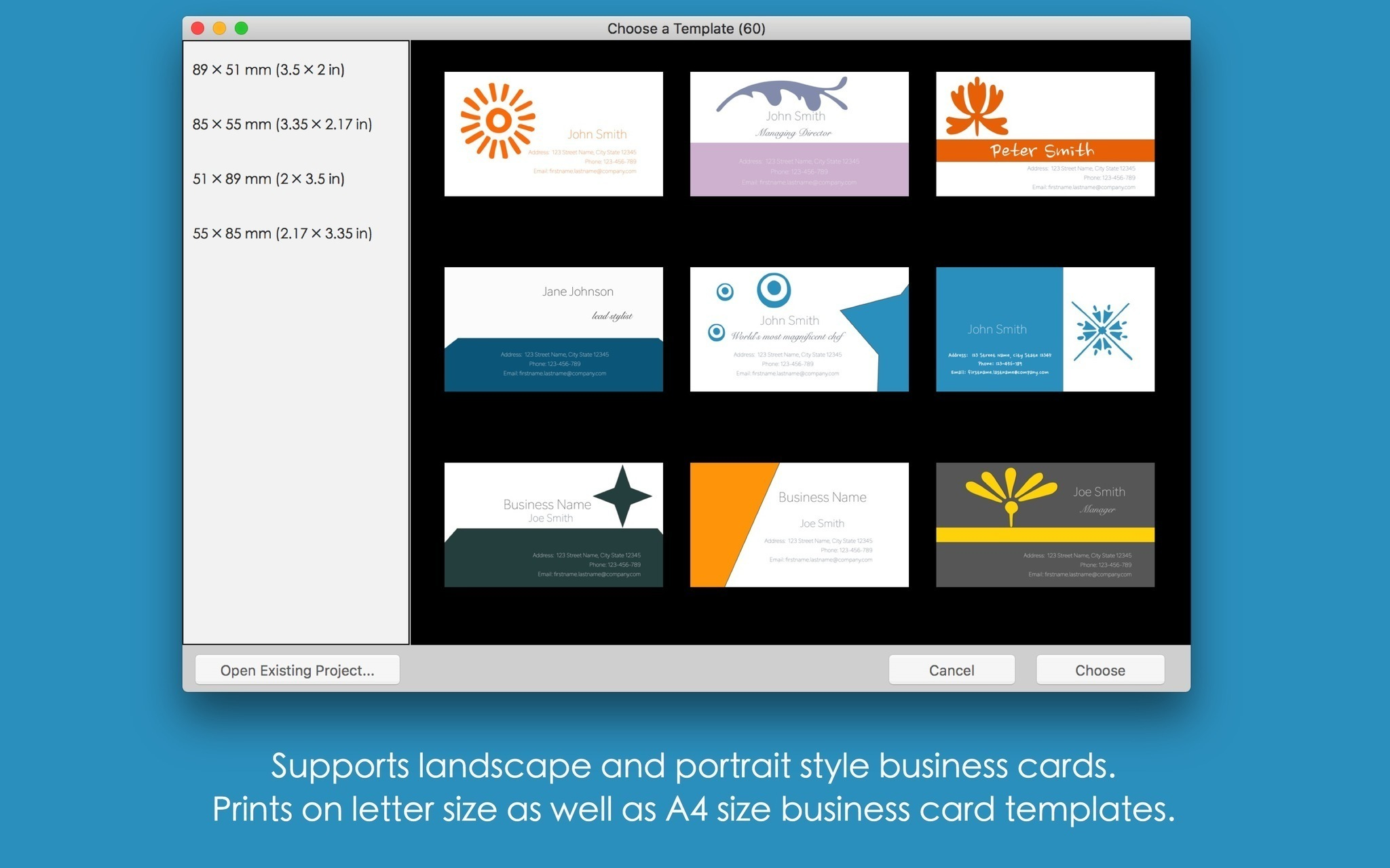 Screenshot 3 for Blue Penguin Business Card Designer