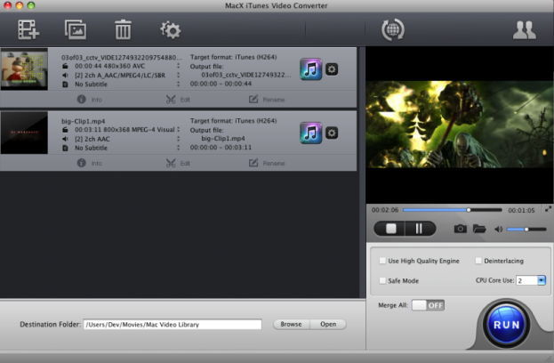Screenshot 1 for MacX iTunes Video Converter